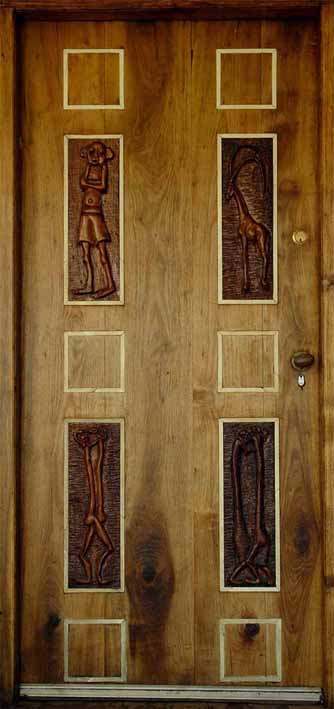 LS6212 Lucas SITHOLE (4 red ivory wood panels by Lucas Sithole set in stinkwood) (door meas. 205x089 cm) - see LS6213-LS6216