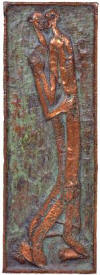 "LS6314 Lucas SITHOLE ""Two figures embracing"", 1963 - panel: copper beaten on wood 70x24.5 cm"