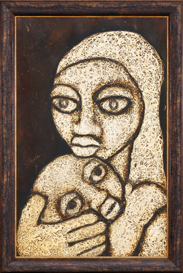 "LS6711 Lucas SITHOLE ""Mother and child looking for their Father working on the mines"" 1967 mixedmedia/acryl/cardboard 90x57 cm"