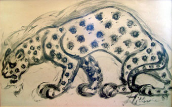 "Lucas SITHOLE ""Leopard"", 1967 - Brush and ink on paper - meas. 062x101 cm"