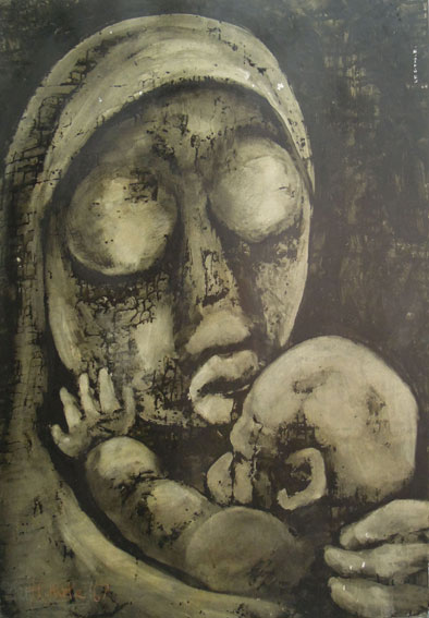 "Lucas SITHOLE LS6731 ""Mother and Child"" (""Bonisile""), 1967 - Ink on paper laid down on card - 101x75.5 cm - dated '67"