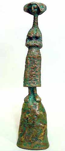 "Lucas SITHOLE LS6816 ""Waiting woman with head scarf"", 1968 - Rhodesian teak on liquid steel base - 44 cm H"