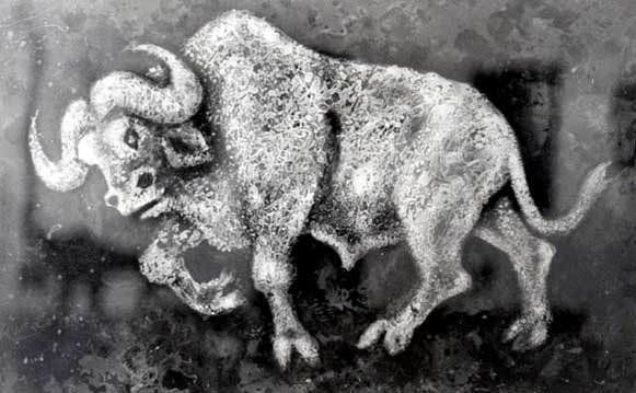 "Lucas SITHOLE LS6826 ""Buffalo I."", 1968 mixed media - 61.5.x100.5 cm"