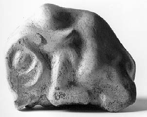 "LS7515 Lucas SITHOLE ""Tired Buffalo"" (left view) 1975 Cape mountain stone 029x033x021 cm"