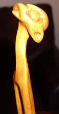 "Query ""LL"" Lucas SITHOLE ""Elongated figure (?)"" 19?? - wood on liquid steel base - 94.5 cm H (close-up)"